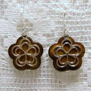 Brown Mother of Pearl Sterling Flower Earrings